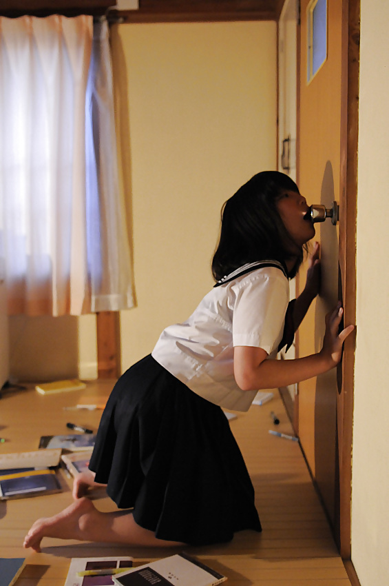 Door knob asian porn